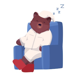 Personaje de oso pardo en pijama para dormir o relajarse en una silla.