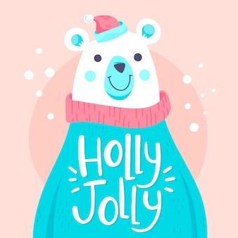 Personaje de oso polar de navidad con letras