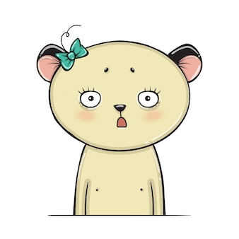 Personaje de oso sorprendido