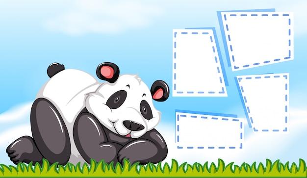 Personaje de panda con marcos en blanco.