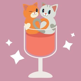 Un personaje de la pareja lindo gato sentado en la copa de vino transparente