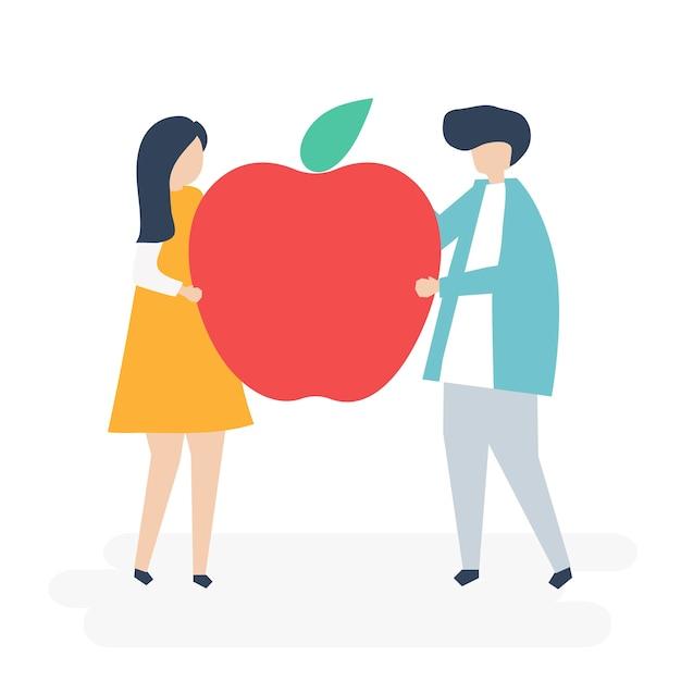Personaje de una pareja sosteniendo una ilustración de apple