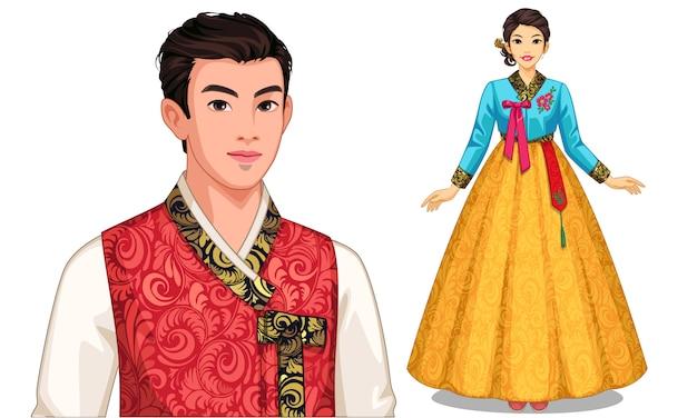 Personaje de pareja surcoreana en traje tradicional.