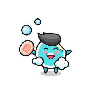 El personaje de la pegatina se está bañando mientras sostiene el jabón, diseño de estilo lindo para camiseta, pegatina, elemento de logotipo