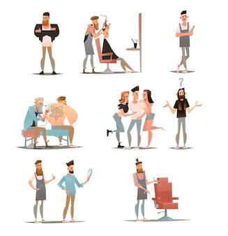Personaje de peluquero de dibujos animados, ilustración de peluquería Vector Premium