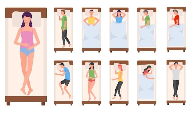 Personaje de personas durmiendo en camas mujer hombre duerme en diferentes poses durmiendo cansado acostado persona