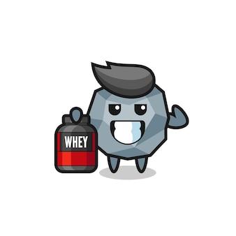 El personaje de piedra muscular sostiene un suplemento de proteínas, un diseño de estilo lindo para camiseta, pegatina, elemento de logotipo