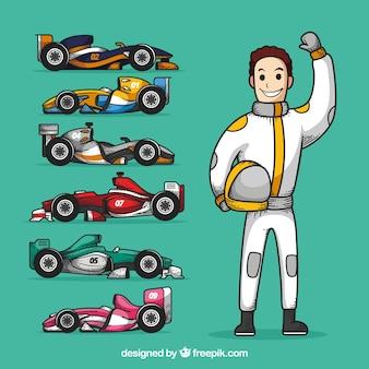 Personaje de piloto de fórmula 1 dibujado a mano