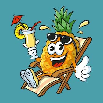 Personaje de piña de divertidos dibujos animados bebiendo cóctel de piña colada divirtiéndose y relajándose en la tumbona.