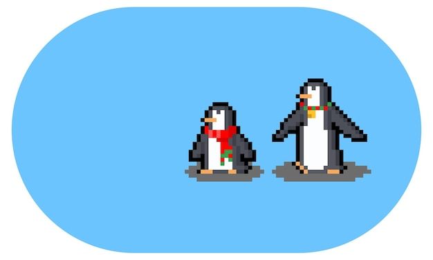 Personaje de pingüino corto y alto de dibujos animados de pixel art.