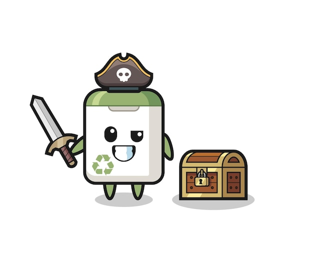 El personaje pirata del bote de basura sostiene la espada al lado de una caja del tesoro, diseño de estilo lindo para camiseta, pegatina, elemento de logotipo