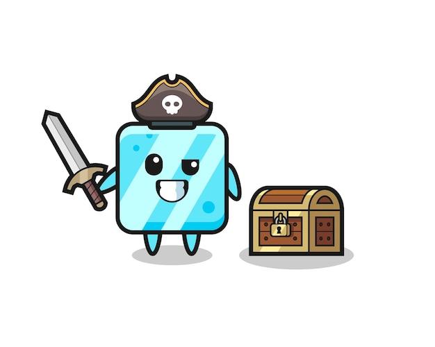 El personaje pirata del cubo de hielo sosteniendo la espada al lado de una caja del tesoro, diseño de estilo lindo para camiseta, pegatina, elemento de logotipo