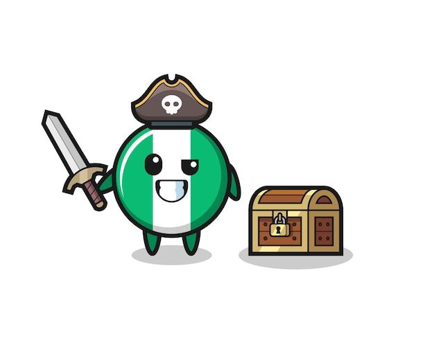 El personaje pirata de la insignia de la bandera de nigeria sosteniendo la espada al lado de una caja del tesoro, diseño de estilo lindo para camiseta, pegatina, elemento de logotipo