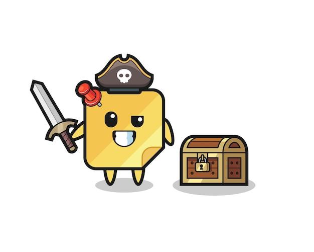 El personaje pirata de notas adhesivas sosteniendo la espada al lado de una caja del tesoro, diseño de estilo lindo para camiseta, pegatina, elemento de logotipo
