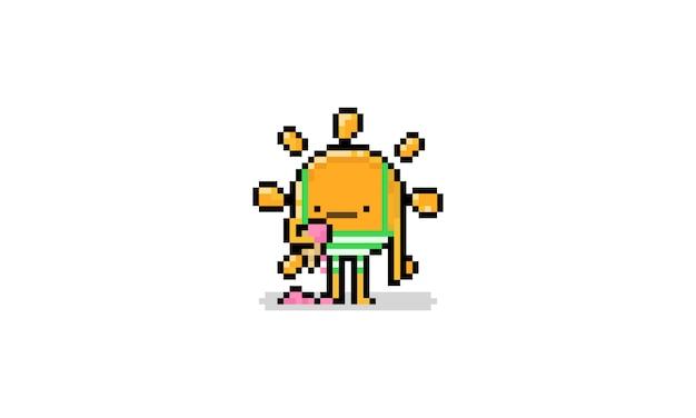 Personaje de pixel art cartoon sun con troncos y helado de fusión. verano de 8 bits.