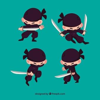 Personaje plano de ninja en distintas posturas dibujado a mano