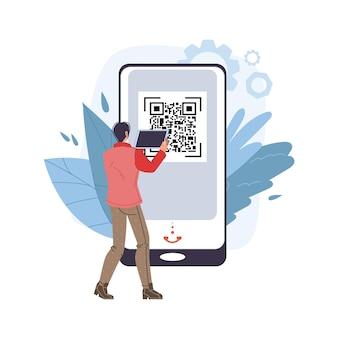 Personaje plano de dibujos animados de vector usando tableta de teléfono inteligente móvil con pantalla en blanco vacía escaneando código qr - compras en línea, redes sociales, concepto de navegación por internet para el diseño de sitios web en línea