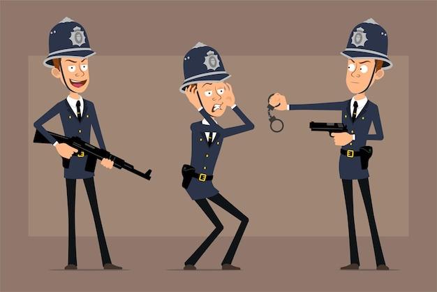 Personaje de policía británico plano divertido de dibujos animados con sombrero de casco azul y uniforme. niño asustado, sosteniendo rifle automático y pistola.