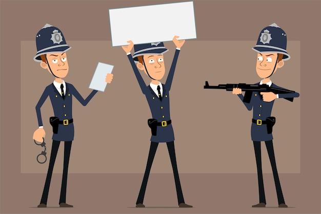 Personaje de policía británico plano divertido de dibujos animados con sombrero de casco azul y uniforme. niño disparando con rifle y sosteniendo un cartel en blanco para el texto.