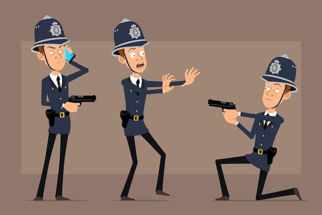 Personaje de policía británico plano divertido de dibujos animados con sombrero de casco azul y uniforme. niño hablando por teléfono y disparando con pistola.