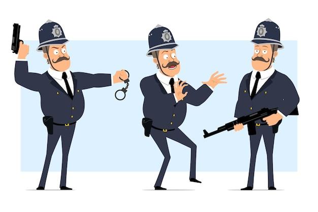 Personaje de policía gordo británico plano divertido de dibujos animados en casco y uniforme. niño asustado, sosteniendo rifle automático y pistola.