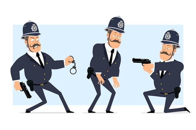 Personaje de policía gordo británico plano divertido de dibujos animados en casco y uniforme. niño cansado y disparando con pistola.
