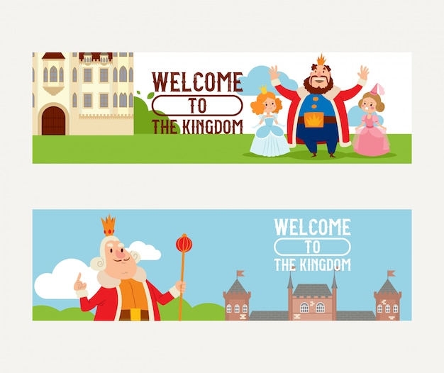 Personaje de princesa del rey del reino de dibujos animados en el castillo