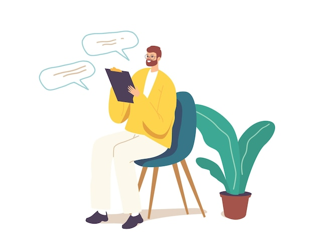 Personaje de psicólogo médico profesional escribiendo en el portapapeles, escuchando al cliente en la clínica en la cita de ayuda
