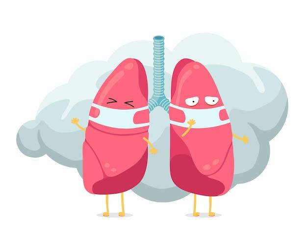 Personaje de pulmones de dibujos animados con máscara de higiene respiratoria en la cara y humo o nube de polvo humana