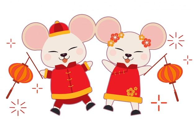 El personaje del ratón lindo usa traje chino y baila sobre el fondo blanco.