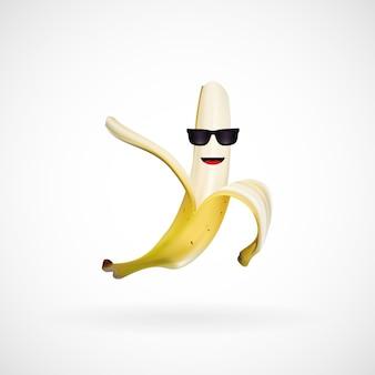 Personaje realista de plátano con gafas de sol, vector, ilustración