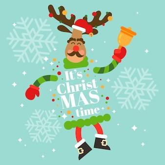 Personaje de renos de navidad con letras