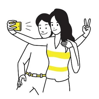 Personaje de retrato de hombre y mujer joven, sosteniendo smartphone, haciendo foto selfie con sonrisa y felicidad.