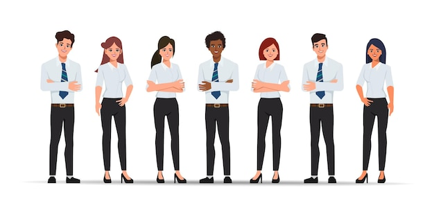Personaje de retrato de trabajo en equipo de personas de negocios.