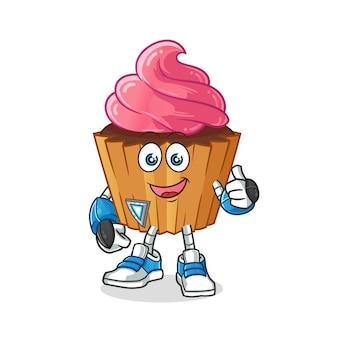 Personaje de robot de pastel de taza