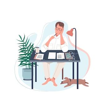 Personaje sin rostro de color plano de escritor independiente. el hombre se sienta en el escritorio. autor masculino escribir novela. trabajar en casa. ilustración de dibujos animados aislado pasatiempo creativo para diseño gráfico web y animación