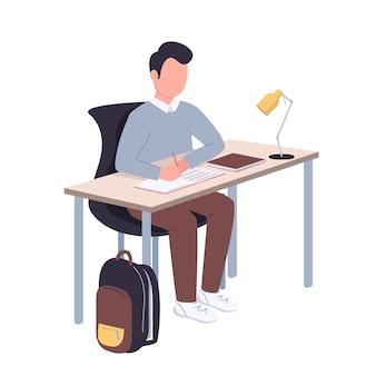 Personaje sin rostro de color plano de estudiante de escuela. adolescente haciendo ilustración de dibujos animados aislados de tarea para diseño gráfico web y animación. educación académica, estilo de vida estudiantil