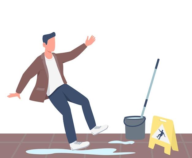 Personaje sin rostro de color plano de hombre deslizado. chico cayendo cerca de piso mojado signo aislado ilustración de dibujos animados para diseño gráfico web y animación. precaución de limpieza, advertencia de superficie resbaladiza
