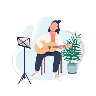 Personaje sin rostro de color plano joven guitarrista. jugador de guitarra acústica. aprenda a tocar un instrumento musical. músico aislado ilustración de dibujos animados para diseño gráfico web y animación