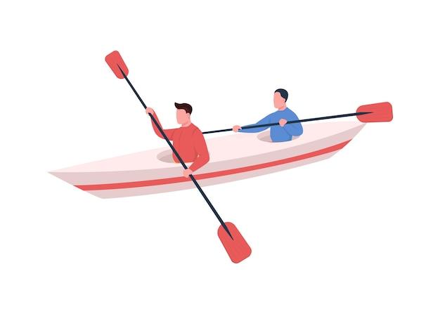 Personaje sin rostro de color plano de los kayakistas. estilo de vida activo. deporte acuático. gente nadando en canoa con remo. ilustración de dibujos animados aislados en kayak para diseño gráfico y animación web