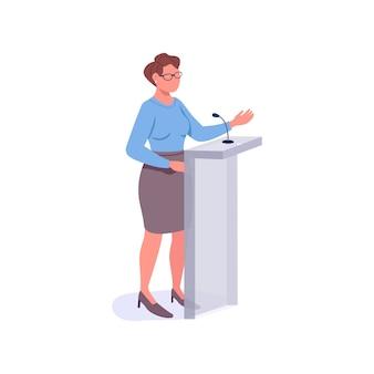 Personaje sin rostro de color plano orador femenino. mentor motivacional