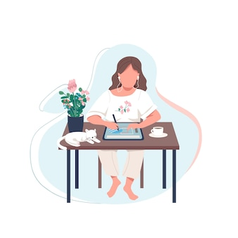 Personaje sin rostro de diseñador femenino color plano. mujer dibujar en tableta digital. artista hace obras de arte con el dispositivo. ilustración de dibujos animados aislados tutorial en línea para diseño gráfico web y animación