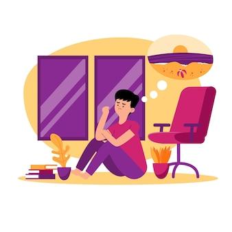 Personaje sentado en la casa y pensando en la playa.