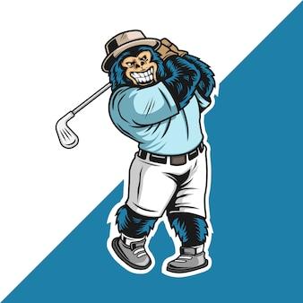 Personaje de silverback jugando golf mascota logo logo personaje