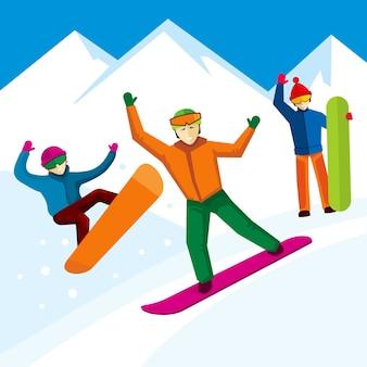 Personaje de snowboarder en estilo plano. montaña de invierno, estilo de vida de diseño extremo, ilustración vectorial
