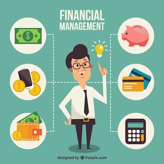 Personaje sonriente y elementos financieros