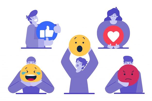 Personaje sosteniendo un emoticon