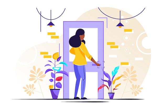 Personaje sosteniendo un pomo de puerta