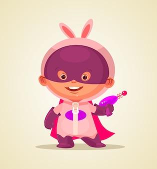 Personaje de superhéroe bebé feliz. ilustración de dibujos animados