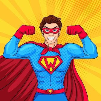 Personaje de superhéroe con estilo pop art.